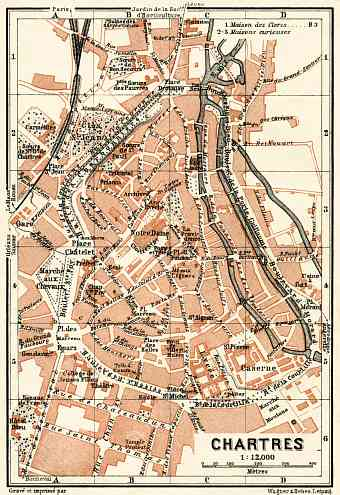 Chartres city map, 1913