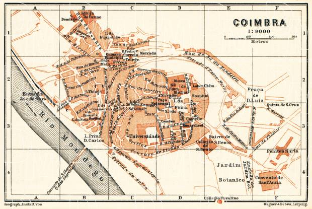 Coimbra city map, 1899. Use the zooming tool to explore in higher level of detail. Obtain as a quality print or high resolution image