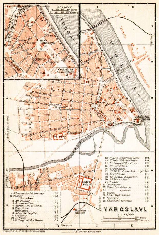 Yaroslavl (Ярославль) city map, 1914. Use the zooming tool to explore in higher level of detail. Obtain as a quality print or high resolution image
