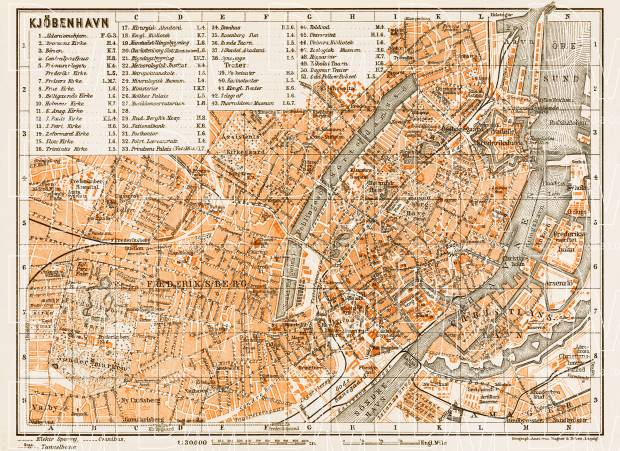 Copenhagen (Kjöbenhavn, København) city map, 1931. Use the zooming tool to explore in higher level of detail. Obtain as a quality print or high resolution image