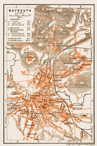 Bayreuth city map, 1909