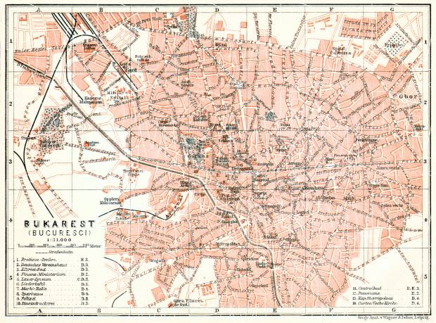 Old map of Bucharest Bucureti in 1906 Buy vintage map replica