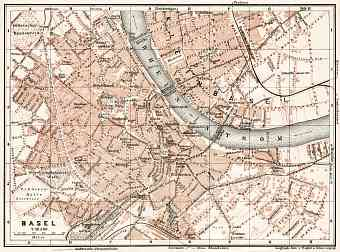 Basel (Bâle, Basle) city map, 1909
