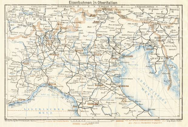 Old map of the Upper Italy in 1929. Buy vintage map replica poster ...