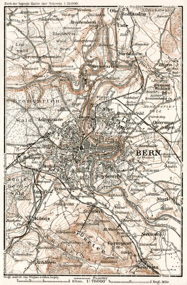 Bern (Berne) and environs map, 1909. Use the zooming tool to explore in higher level of detail. Obtain as a quality print or high resolution image