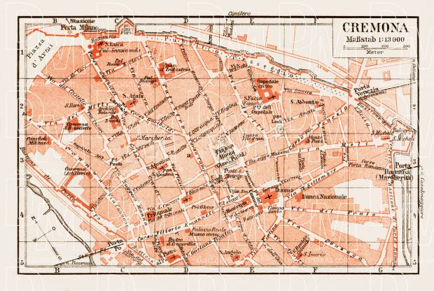 Old map of Cremona in 1903 Buy vintage map replica poster print or