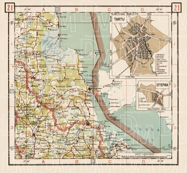 Estonian Road Map, Plate 21: Räpina. 1938. Use the zooming tool to explore in higher level of detail. Obtain as a quality print or high resolution image