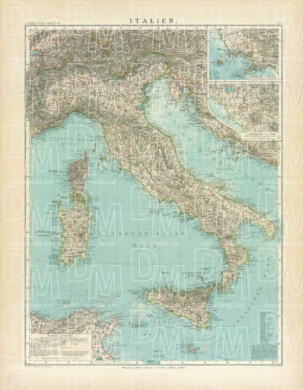 Italy Map, 1905. Use the zooming tool to explore in higher level of detail. Obtain as a quality print or high resolution image