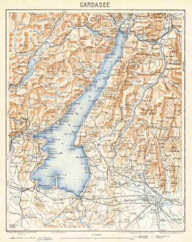 Garda Lake and environs map, 1929. Use the zooming tool to explore in higher level of detail. Obtain as a quality print or high resolution image