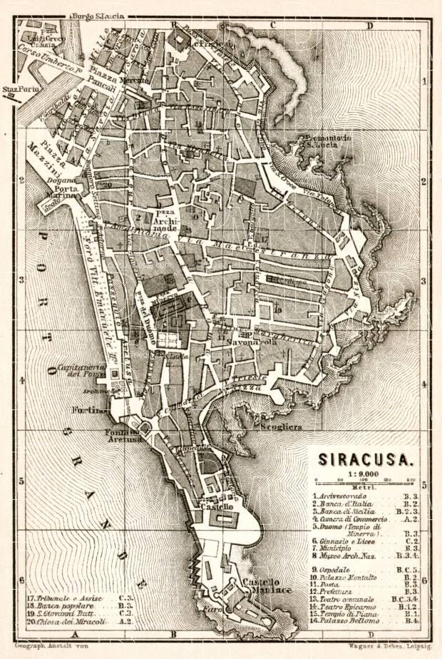 Old map of Syracuse Siracusa in 1912 Buy vintage map replica