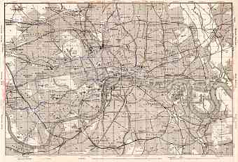 London, city map with tram and tube network, 1909