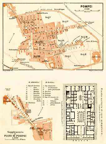 Pompei (Pompeii) general plan with typical street level inset plan, 1929