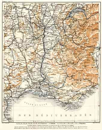 France, southeastern part map, 1902