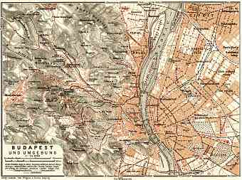Budapest and its environs map, 1911