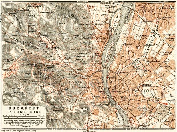 Budapest and its environs map, 1911. Use the zooming tool to explore in higher level of detail. Obtain as a quality print or high resolution image