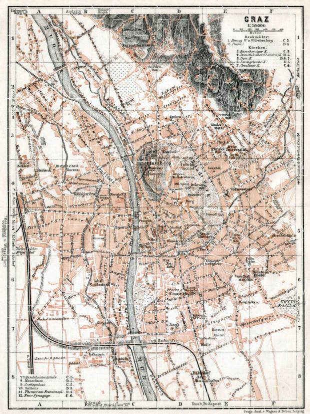 Graz city map, 1910. Use the zooming tool to explore in higher level of detail. Obtain as a quality print or high resolution image