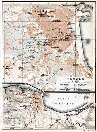 Tánger (طنجة, Tangier) city map, 1913. Environs of Tánger