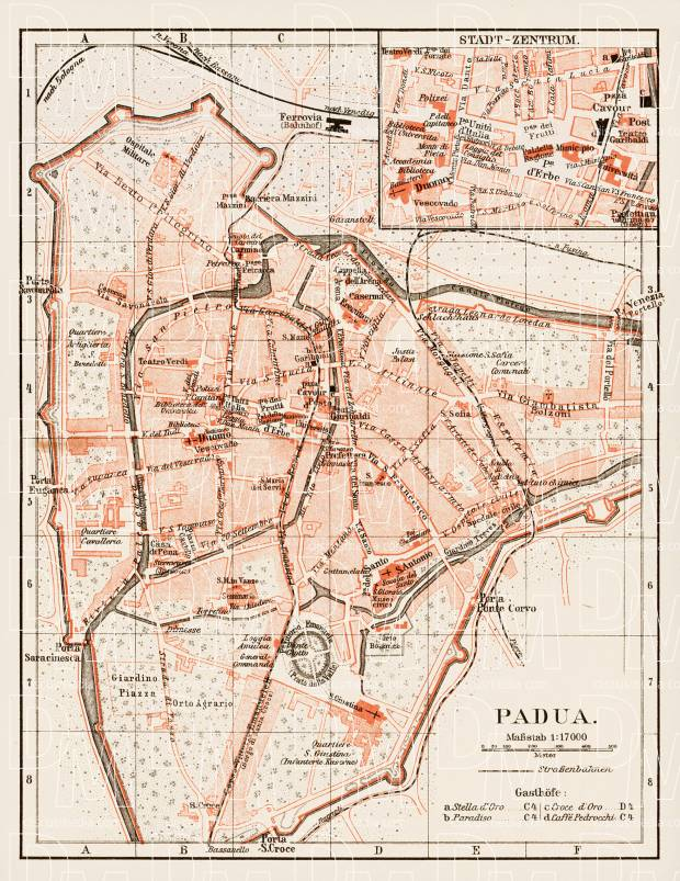 Padua (Padova) city map, 1903. Use the zooming tool to explore in higher level of detail. Obtain as a quality print or high resolution image