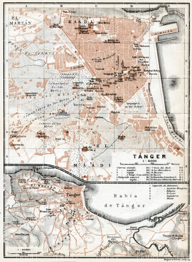 Tánger (طنجة, Tangier) city map, 1913. Environs of Tánger. Use the zooming tool to explore in higher level of detail. Obtain as a quality print or high resolution image