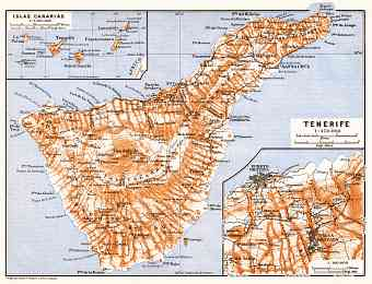 Tenerife and the Canary Islands map, 1911
