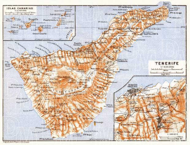 Tenerife and the Canary Islands map, 1911. Use the zooming tool to explore in higher level of detail. Obtain as a quality print or high resolution image