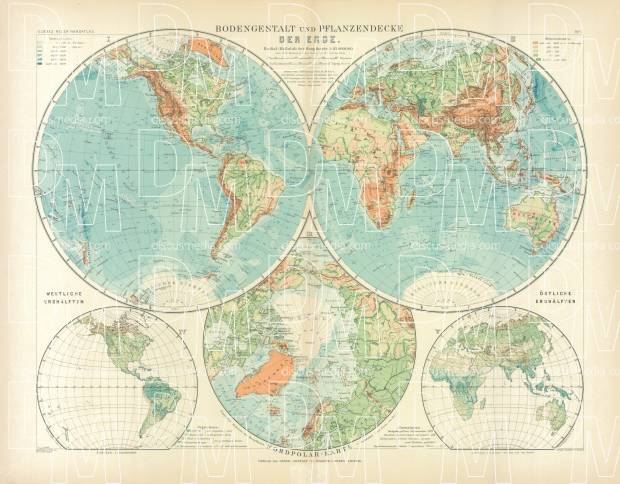 World Hemisphere Map, 1905. Use the zooming tool to explore in higher level of detail. Obtain as a quality print or high resolution image