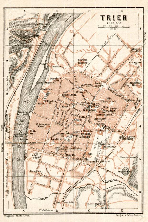 Trier city map, 1906. Use the zooming tool to explore in higher level of detail. Obtain as a quality print or high resolution image