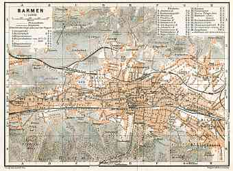 Barmen (now part of Wuppertal) city map, 1906