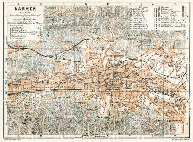 Barmen (now part of Wuppertal) city map, 1906. Use the zooming tool to explore in higher level of detail. Obtain as a quality print or high resolution image