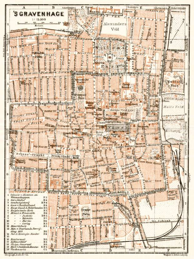 Old map of The Hague Den Haag sGravenhage in 1909 Buy vintage