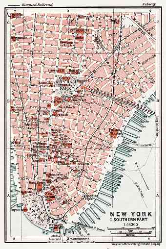 New York, Southern Part Map, 1909