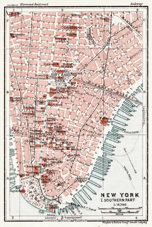 New York, Southern Part Map, 1909. Use the zooming tool to explore in higher level of detail. Obtain as a quality print or high resolution image