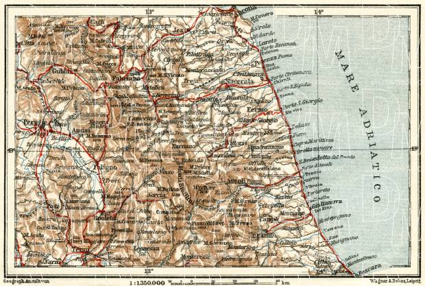 Old map of littoral vicinities of Ancona to Pescara in 1929 Buy
