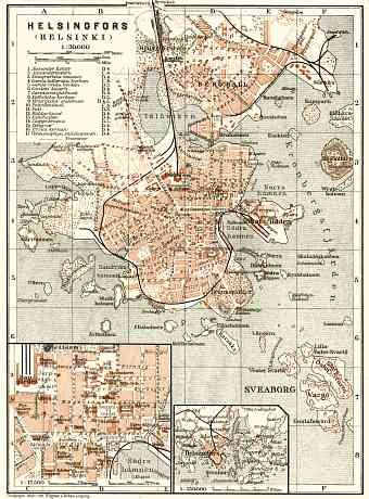 Helsingfors (Helsinki) city map, 1914