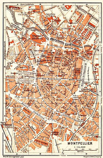 Montpellier city map, 1900