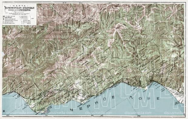 The Black Sea coast of the Caucasus: Gagry - Suhumi, 1914. Use the zooming tool to explore in higher level of detail. Obtain as a quality print or high resolution image