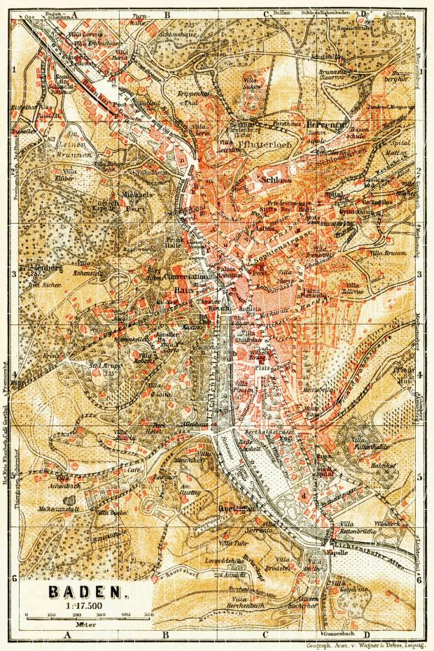 Baden (Baden-Baden) city map, 1906. Use the zooming tool to explore in higher level of detail. Obtain as a quality print or high resolution image