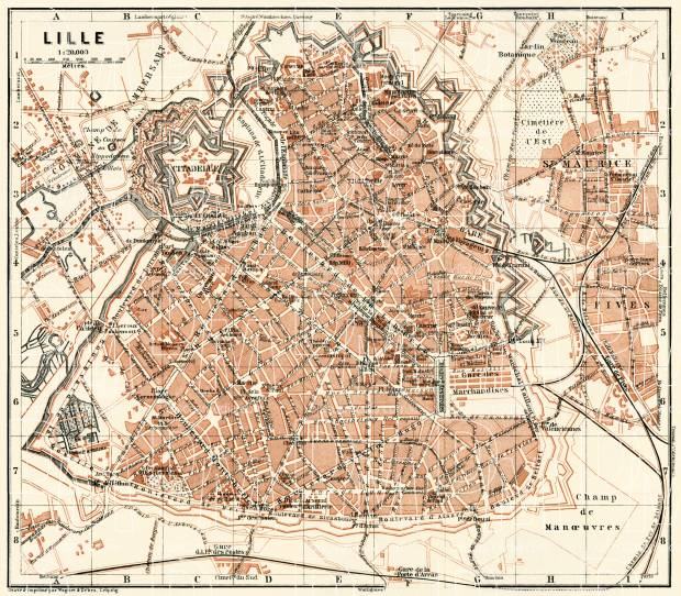 Lille city map, 1913. Use the zooming tool to explore in higher level of detail. Obtain as a quality print or high resolution image