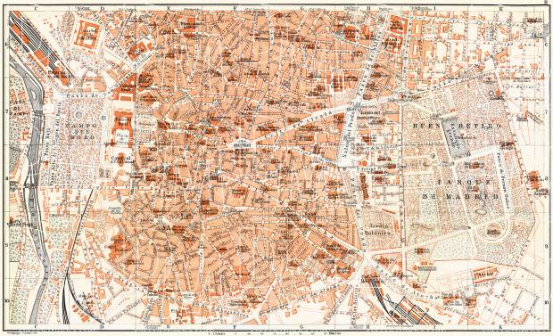 Old map of Madrid Center in 1899 Buy vintage map replica poster