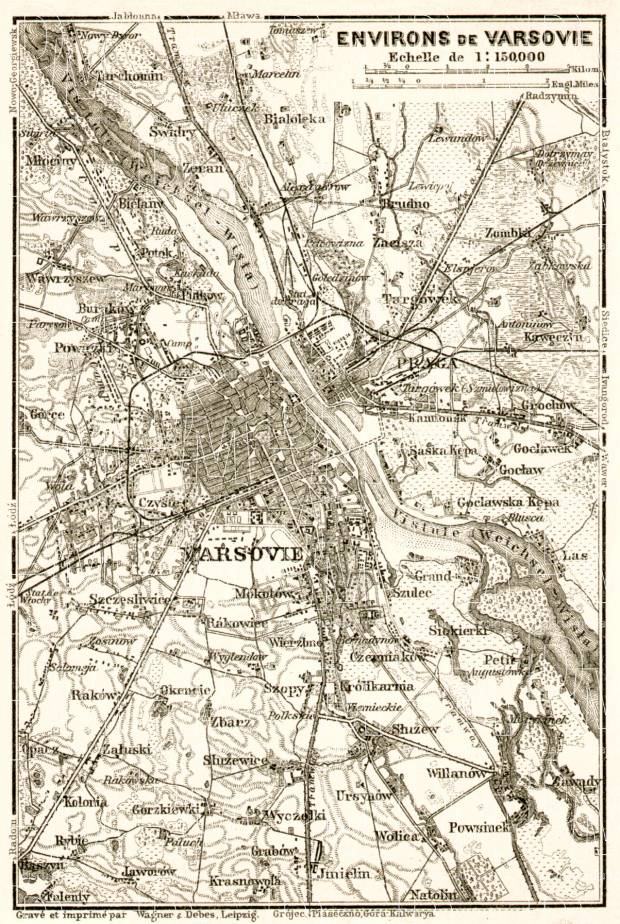 Warsaw (Варшава, Warschau, Warszawa) environs map, 1914. Use the zooming tool to explore in higher level of detail. Obtain as a quality print or high resolution image