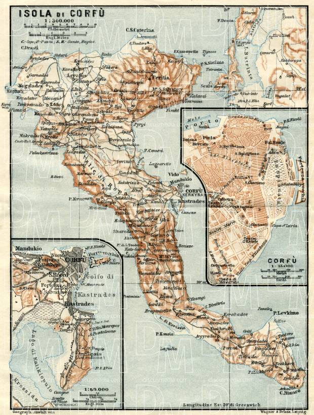 Corfu Isle map, 1928. With town plan of Corfu (Kerkyra). Use the zooming tool to explore in higher level of detail. Obtain as a quality print or high resolution image
