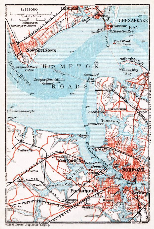 Old map of the Hampton Roads in 1909 Buy vintage map replica poster