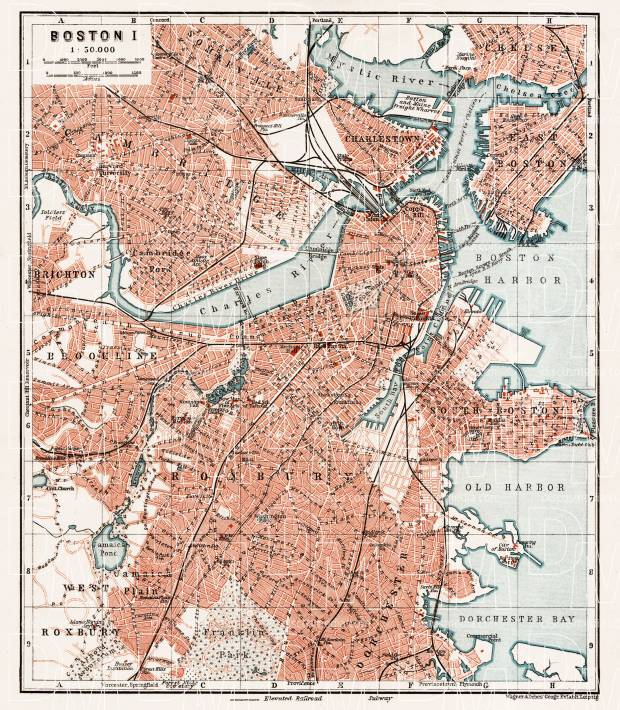 Boston city map, 1909 (Boston I: General Plan). Use the zooming tool to explore in higher level of detail. Obtain as a quality print or high resolution image