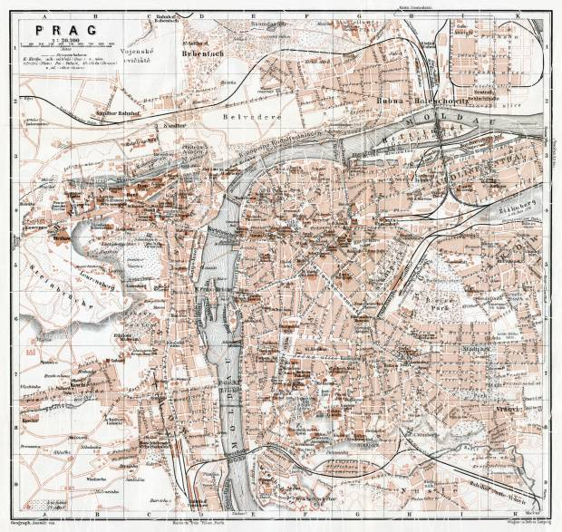 Praha (Prague), city map (names in Czech), 1910. Use the zooming tool to explore in higher level of detail. Obtain as a quality print or high resolution image