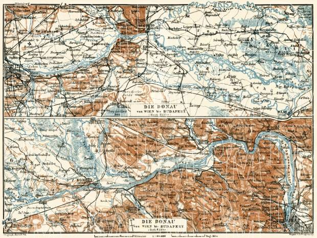 Map of the Danube River course from Vienna to Budapest, 1929. Use the zooming tool to explore in higher level of detail. Obtain as a quality print or high resolution image