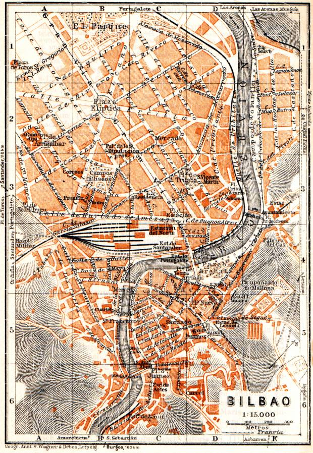 Old map of Bilbao in 1929 Buy vintage map replica poster print or