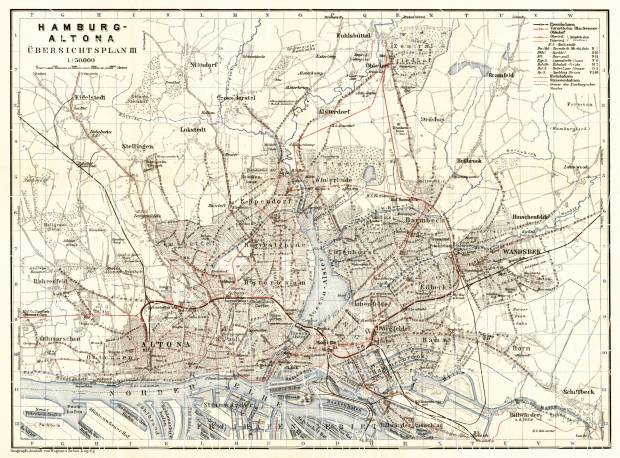 Hamburg and Altona, city map with tram and local railway networks, 1911. Use the zooming tool to explore in higher level of detail. Obtain as a quality print or high resolution image