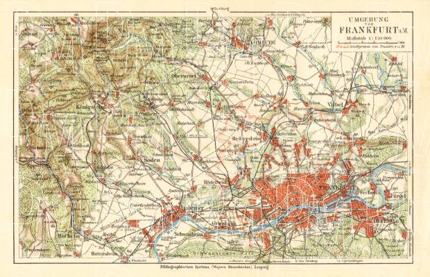 Frankfurt am Main environs map, 1927. Use the zooming tool to explore in higher level of detail. Obtain as a quality print or high resolution image