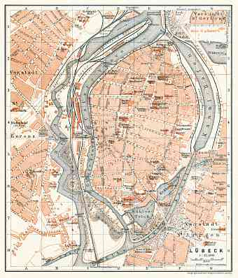 Historical map prints of Lbeck in Germany for sale and download