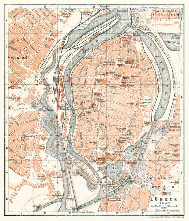 Lübeck city map, 1906. Use the zooming tool to explore in higher level of detail. Obtain as a quality print or high resolution image